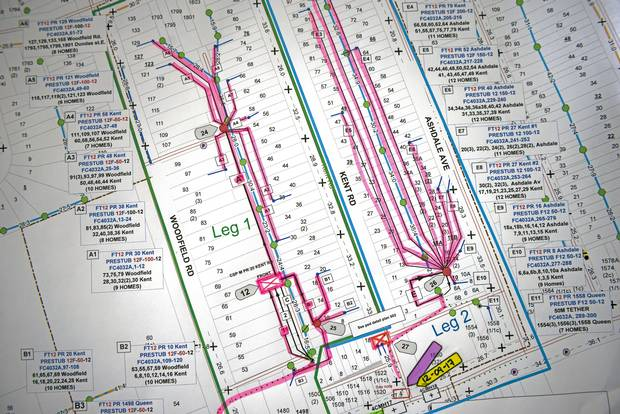 A map of city areas where fibre-optic cable is being installed.