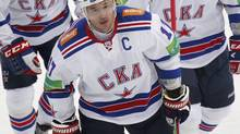 SKA St. Petersburg's Ilya Kovalchuk skates with team mates during their Kontinental Hockey League (KHL) game against Dynamo in Moscow September 23, 2012. (MAXIM SHEMETOV/REUTERS)