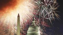 Fireworks light up the sky over the United States Capitol dome and the Washington Monument as the U.S. celebrates its 235th Independence Day in Washington July 4, 2011 . (HYUNGWON KANG/REUTERS)