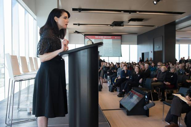 Actor Mia Kirshner, co-founder of the #Aftermetoo symposium, closes the town hall.