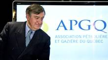 Quebec shale-gas industry spokesman Lucien Bouchard leaves a news conference in Montreal. (Paul Chiasson/The Canadian Press)