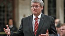 Prime Minister Stephen Harper speaks during Question Period in the House of Commons on Sept. 29, 2011. (CHRIS WATTIE/REUTERS)