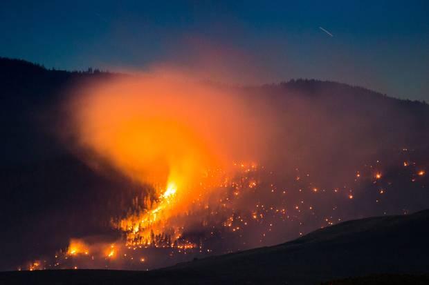 July 7, 2017: A wildfire burns on a mountain near Ashcroft, B.C.
