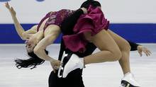 Tessa Virtue and Scott Moir of Canada perform during the ice dance short dance at the ISU World Figure Skating Championships in Nice. (JEAN-PAUL PELISSIER/Reuters)