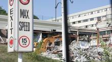 Rubble from the Algo Centre Mall in Elliot Lake, Ont., is seen on Tuesday, Aug. 14, 2012. The mall has been off-limits since part of its rooftop garage collapsed June 23, killing two people. (Colin Perkel/THE CANADIAN PRESS)
