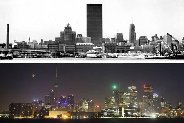 The Toronto skyline, in the late 1960s, above, and 2010s, below. Condo ownership became a legal option for Torontonians in 1967.