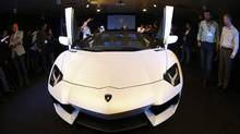 The new Lamborghini Aventador LP 700-4 Roadster during its unveiling in Singapore November 12, 2012. (EDGAR SU/REUTERS)
