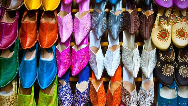 "Emily Baillie was taken by the ""full sensory experience"" of the souks in Marrakesh, including this rack of hand-dyed leather footwear."