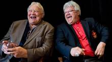 Retired NHL hockey players Bobby Hull, left, and Marcel Dionne laugh during a news conference for Gordie Howe's 85th birthday celebration in Vancouver B.C., on Thursday February 28, 2013. Howe, who turns 85 on March 31, will be joined by NHL greats Hull, Dionne, Johnny Bower, Dennis Hull and Orland Kurtenbach for a pregame birthday ceremony before the Vancouver Giants and Lethbridge Hurricanes WHL hockey game Friday night. Gordie Howe is part owner of the Giants. owe was unable to attend the news conference. (DARRYL DYCK/THE CANADIAN PRESS)
