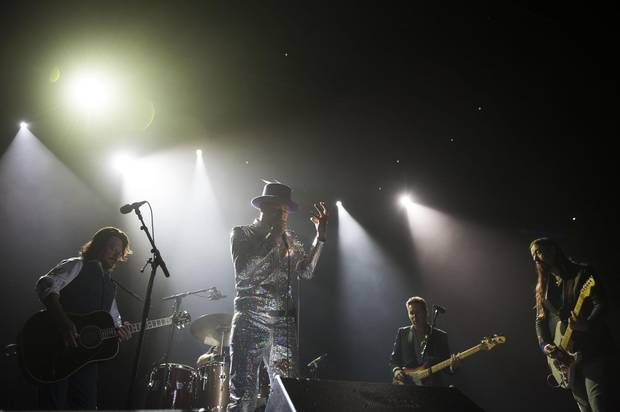 From left: Paul Langlois, Johnny Fay, Gord Downie, Gord Sinclair and Rob Baker of The Tragically Hip perform on Aug. 10, 2016, in Toronto.
