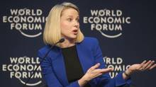 Yahoo CEO Marissa Mayer gestures as she speaks during a session at the World Economic Forum in Davos, Switzerland, Wednesday, Jan. 22, 2014, the opening day of the World Economic Forum. (Michel Euler/AP)
