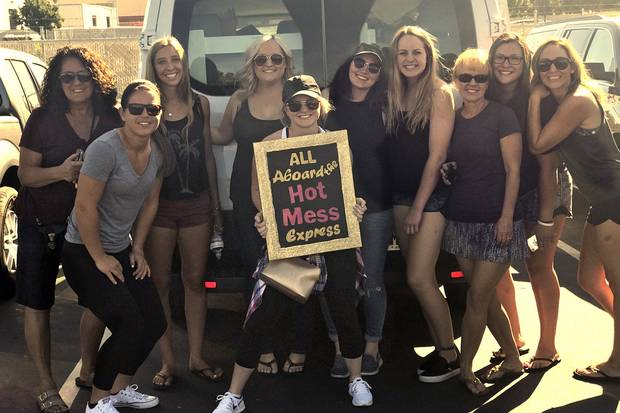 Loreto Hannah (left), her daughter Katrina (third from left) and friends in front of the van they drove to Las Vegas for a bachelorette party