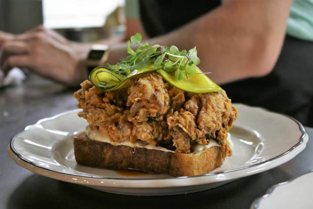 Fried chicken on toast at Clementine.