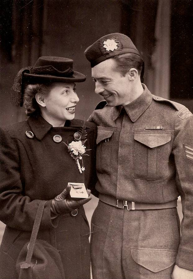 August (Augie) Herchenratter with his fiancée, Joanne Vaughn, on March 5, 1945, the day he was awarded a Distinguished Conduct Medal at Buckingham Palace for his bravery following the D-Day landings. The couple married five days later.