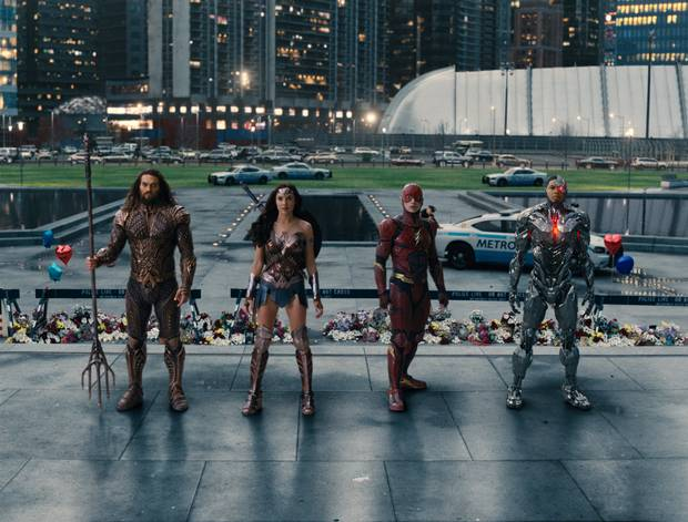 Jason Momoa as Aquaman, Gal Gadot as Wonder Woman, Ezra Miller as the Flash and Ray Fisher as Cyborg in Justice League.
