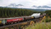 Better railway connections for people and freight – such as this CP line through the Rocky Mountains near Banff, Alta. – is one idea to improve Canada's infrastructure. (TODD KOROL/REUTERS)