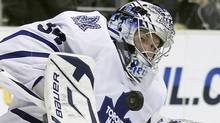Toronto Maple Leafs goaltender James Reimer makes a save against the Los Angeles Kings during the second period of their NHL hockey game in Los Angeles, California, January 10, 2011. (LUCY NICHOLSON/REUTERS)