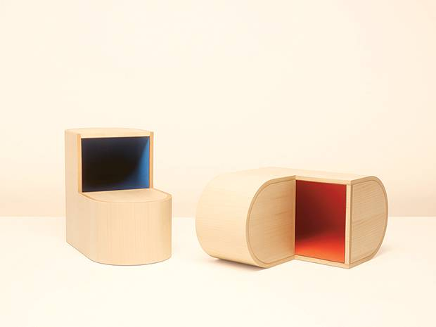 Natural maple Équipages d'Hermès Sabot stools.