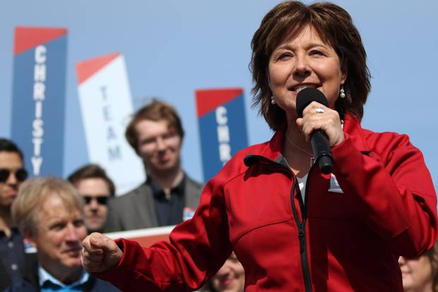 Liberal Leader Christy Clark speaks to candidates and supporters at the Elk Lake boathouse in Saanich, B.C., on April 11, 2017.