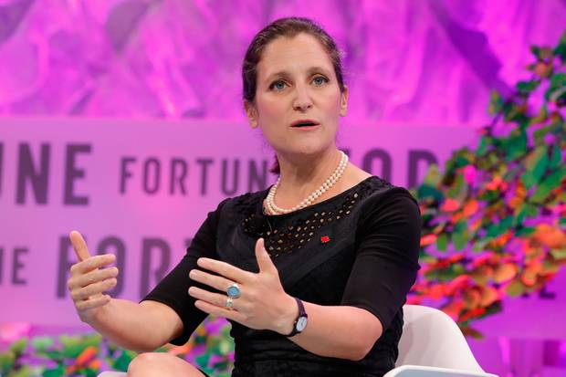 Chrystia Freeland speaks at Tuesday's Fortune summit.