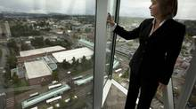 Surrey Mayor Dianne Watts stands with a view of the city (JOHN LEHMANN/GLOBE AND MAIL)