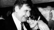 Calgary Mayor Ralph Klein gives his daughter Theresa a hug on March 21, 1989, after winning a seat in the Alberta Legislature with the Progressive Conservative Party. (Bruce Stotesbury/Calgary Herald / CP)