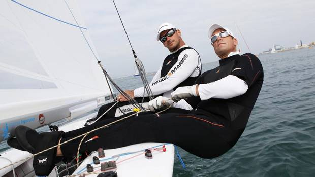 Tyler Bjorn (R) and Richard Clarke Olympic sailors practice at team announcement day, on Friday, June, 1, 2012 in Weymouth, United Kingdom (AP IMAGES/ CP Images for Canadia)