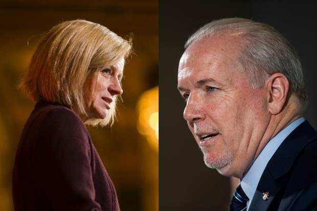 Alberta Premier Rachel Notley and B.C. Premier John Horgan.