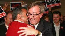 Ottawa mayor-elect Jim Watson is greeted by supporters at his victory party on Oct. 25, 2010. (DAVE CHAN/Dave Chan for The Globe and Mail)