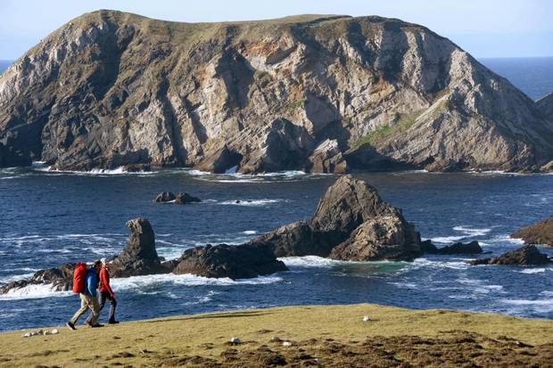 The coast of An Port, Ireland, allows travellers an exquisite view of the North Atlantic's cobalt waters, which batter the rocky shoreline for an almost prehistoric look.