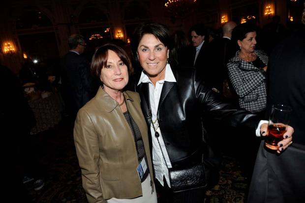 Roz Davidson (left) and Honey Sherman at the Chasing Madoff after party