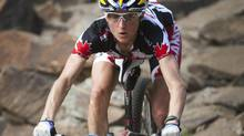 Canada's Catharine Pendrel is seen training on Wednesday Sept. 1, 2010., during the Mountain Bike and Trials World Championships in Mont-Sainte-Anne, Quebec. (Sean Kilpatrick/THE CANADIAN PRESS)