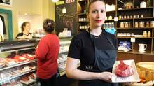 Jessi Gillis, owner of Highland Drive Storehouse, a butcher shop in Halifax. (Paul Darrow for The Globe and Mail)