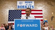 President Barack Obama speaks during a campaign event at B.R. Miller Middle School, Tuesday, Aug. 14, 2012, in Marshalltown, Iowa, during a three day campaign bus tour through Iowa. (Carolyn Kaster/AP)