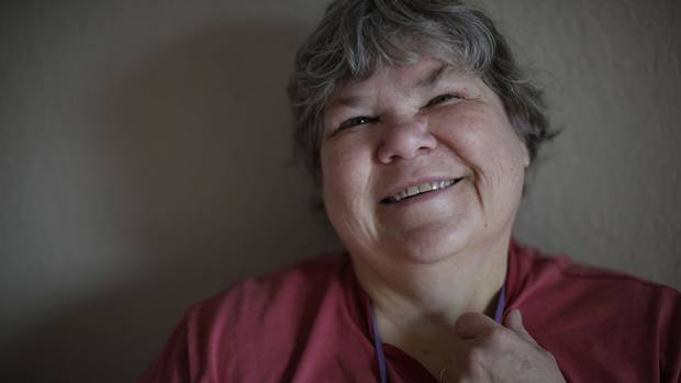 Noreen Begoray was living in her car with her two dogs Gypsy and Kako for nearly a year and is now she's living in her own bachelor apartment in Victoria, B.C., Tuesday, March 29, 2017.
