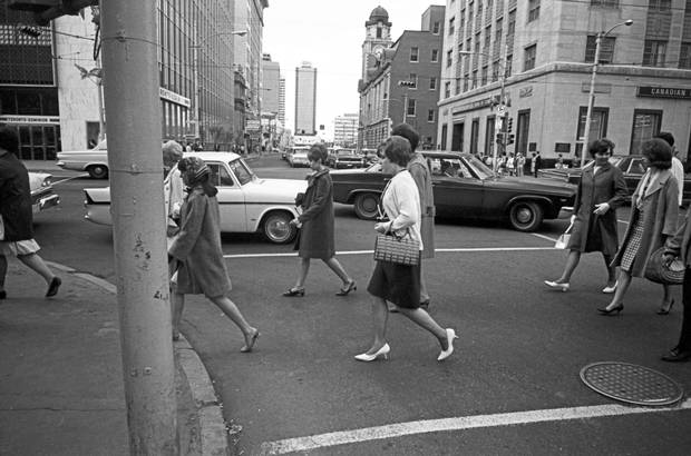 The intersection of Jasper Avenue and 100 Street in Edmonton reflects the boom times of 1967.