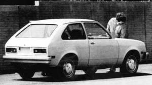 JULY 1975 - A General Motors Chevette in Michigan ready for the filming of an introduction commercial. Chevette was the long promised General Motors entry in the sub-compact market, then dominated by Volkswagen, Toyota, Fiat and other imports. It was scheduled for introduction in the U.S. market that fall. It is a version of the T-car, originally introduced by GM in Brazil in 1970.