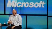 "Microsoft CEO Steve Ballmer during his keynote address at the 2012 International CES tradeshow, Monday, Jan. 9, 2012, in Las Vegas. ""They built Microsoft TV, they demoed it for us, they asked for rate cards but then said 'ooh ah, that's expensive,' "" said one senior media executive who had been involved in the talks. (Julie Jacobson/Julie Jacobson/AP)"