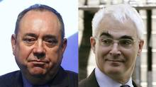 Alex Salmond and Alistair Darling are leading rival Yes and No campaigns in Scotland's referendum on independence. (DAVID MOIR AND LUKE MacGREGOR/REUTERS)