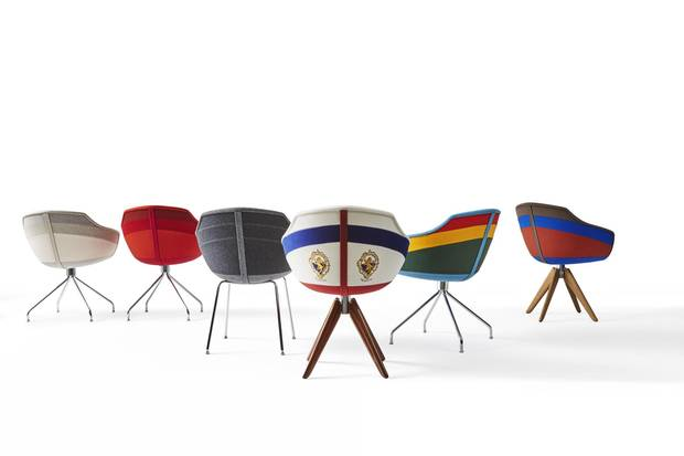 Nichetto's Canal chairs evoke the shape of a traditional gondola.