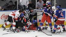 Players from the Ottawa Senators and the New York Rangers fight during the first period of Game 2 in New York. (Ray Stubblebine/Reuters/Ray Stubblebine/Reuters)