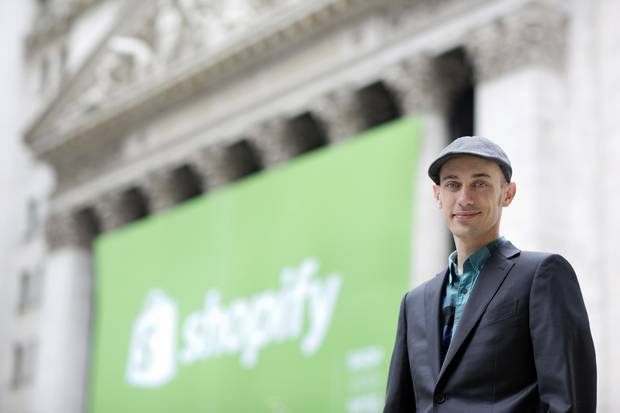 Shopify chief executive officer Tobi Lutke is seen outside the New York Stock Exchange.