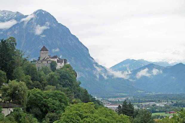 Vaduz Castle sits within the mountainous principality of Liechtenstein, which is surrounded by Austria to the east and Switzerland elsewhere.