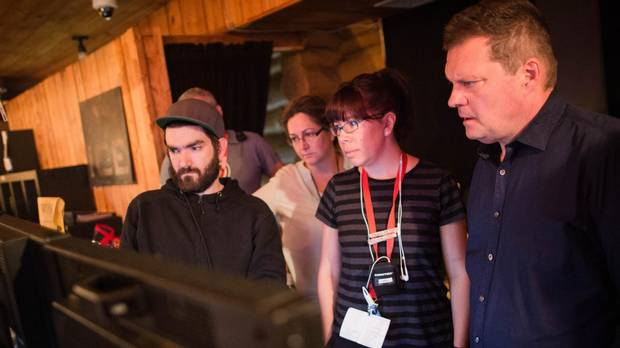 Tracey Deer, third from left, watches a take on the set of Mohawk Girls.