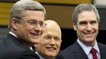 From left, Conservative Leader Stephen Harper, NDP Leader Jack Layton and Liberal Leader Michael Ignatieff pose for photos prior to the federal election leaders debate in Ottawa. (Paul Chiasson/Paul Chiasson/The Canadian Press)