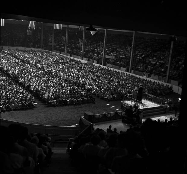 Billy Graham's 1955 crusade in Toronto drew crowds to the CNE Coliseum through September and October.