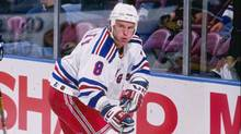 Pat Flatley playing for the New York Rangers in 1996. He now works with a Ryerson program for transitioning hockey players. (Nathaniel S. Butler/Nathaniel Butler/Allsport/Getty)