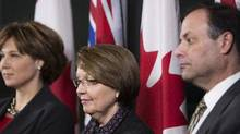 British Columbia Premier Christy Clark (left), Attorney General Shirley Bond (center) and Richard Rosenthal (right), the provincial chief civilian director for police oversight. (Rafal Gerszak For The Globe and Mail/Rafal Gerszak For The Globe and Mail)