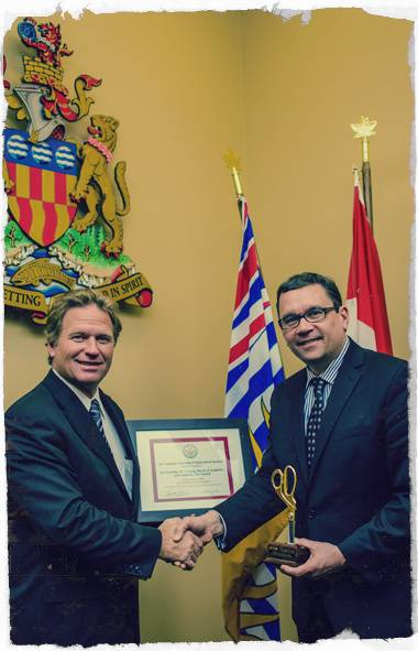 "Mayor Stew Young and city council for Langford, B.C., were the recipients of CFIB's 2014 Golden Scissors Award. Red tape reduction initiative: Eliminating the requirement for local businesses to renew their licenses every year. ""Our council felt that adopting a permanent business license was a practical decision that would benefit business owners and citizens alike."""