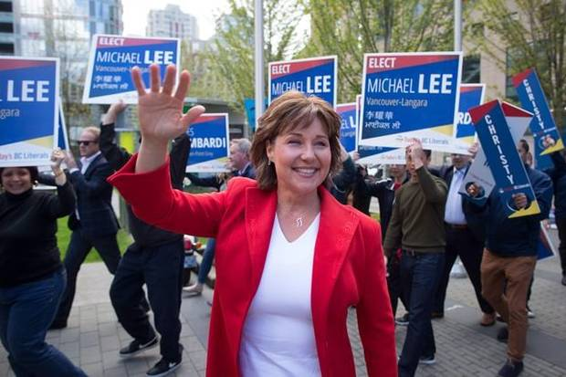 BC Liberal Leader Christy Clark arrives for a leaders debate in Vancouver on April 26, 2017./